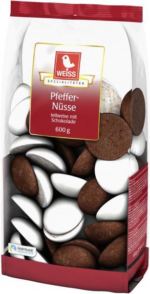 Weiss Pfeffernüsse teilweise mit Schokolade