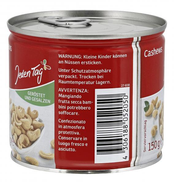 Jeden Tag Cashew-Kerne geröstet & gesalzen
