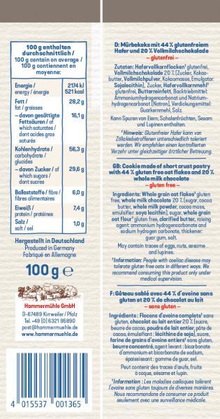 Hammermühle Haferkekse mit Vollmilchschokolade
