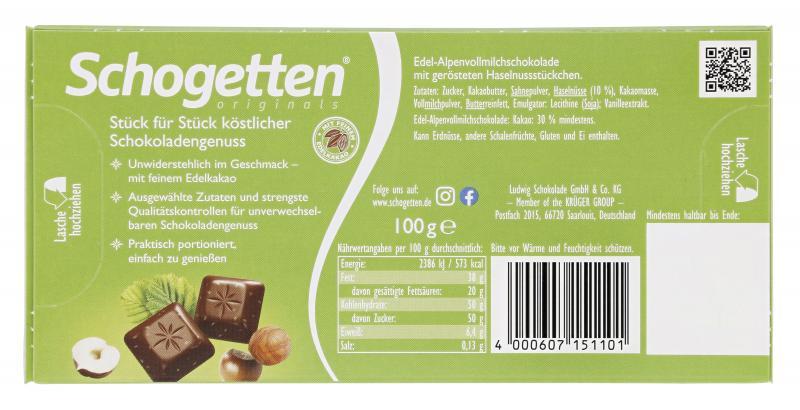 Schogetten Edel-Alpenvollmilch-Haselnuss