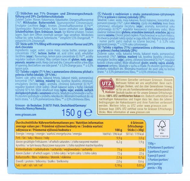 Griesson Erfrischungs-Sticks Orange-Zitrone