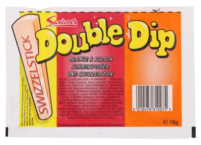 Swizzels Matlow Double Dip Schleckpulver mit Swizzelstick Orange & Kirsch