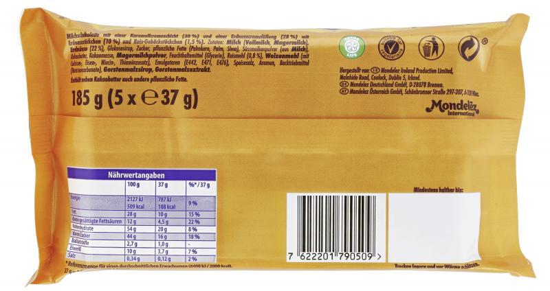 Cadbury Wunderbar Erdnuss-Karamell Riegel