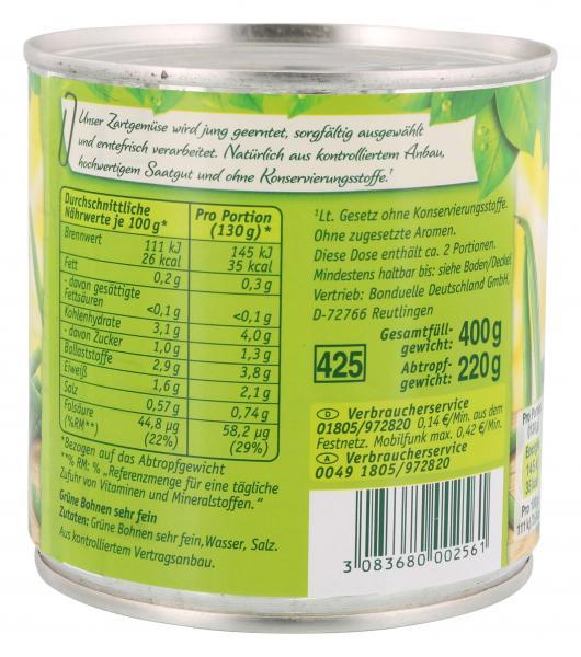 Bonduelle Grüne Bohnen zart und fein