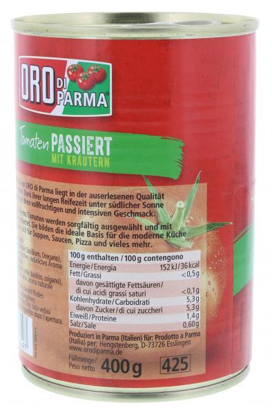 Oro di Parma Tomaten mit Kräutern passiert