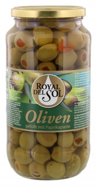 Royal del Sol Grüne Oliven gefüllt mit Paprikapaste