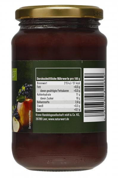 NaturWert Bio Apfelmark mit schwarzer Johannisbeere