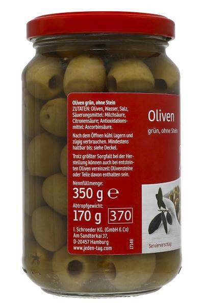 Jeden Tag Oliven grün ohne Stein