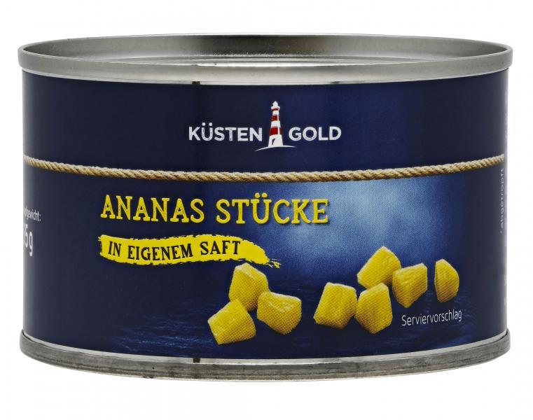 Küstengold Ananas Stücke in eigenem Saft