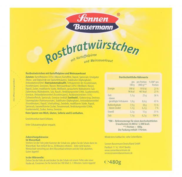 Sonnen Bassermann Rostbratwürstchen mit Kartoffelpüree und Weinsauerkraut
