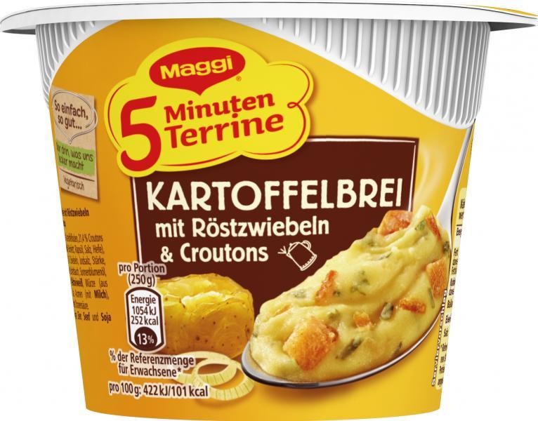 Maggi 5 Minuten Terrine Kartoffelbrei mit Röstzwiebeln & Croutons