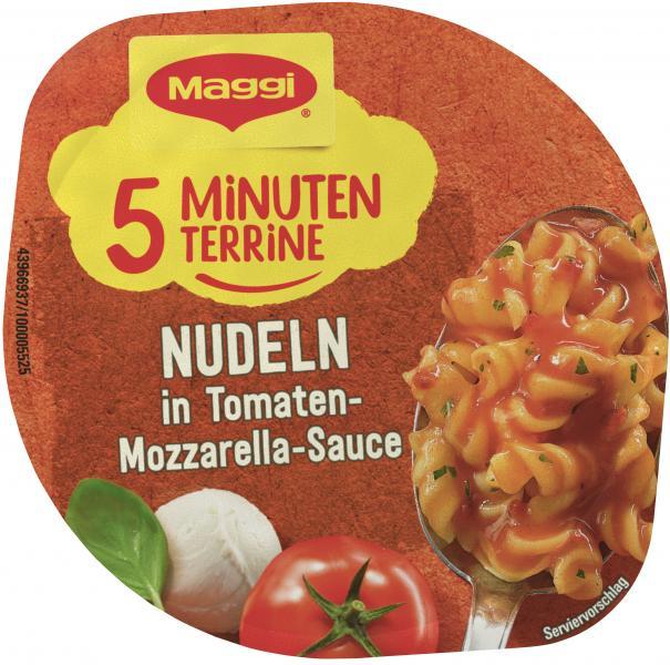 Maggi 5 Minuten Terrine Nudeln in Tomaten-Mozzarella-Sauce