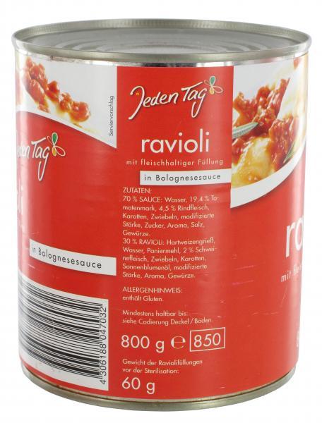 Jeden Tag Ravioli in Bolognesesauce