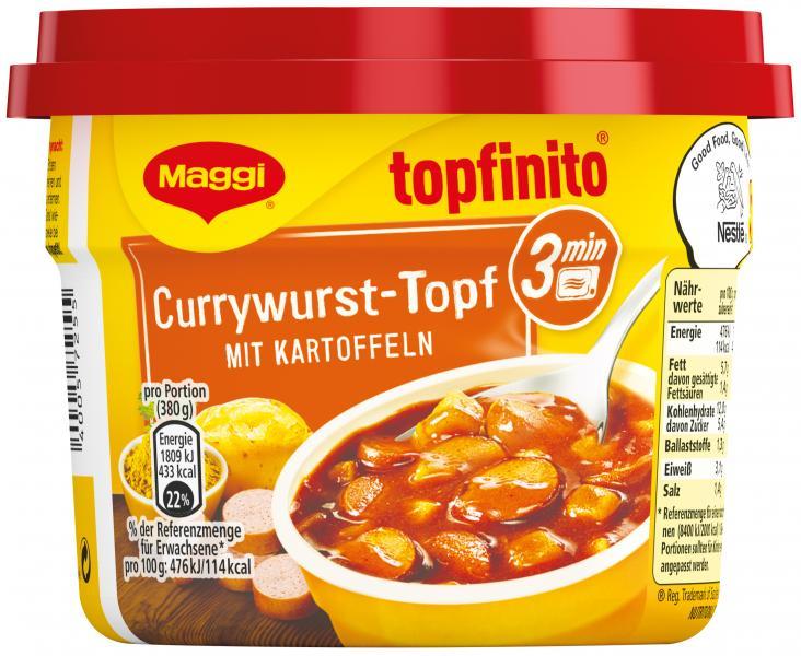 Maggi Topfinito Currywurst-Topf mit Kartoffeln