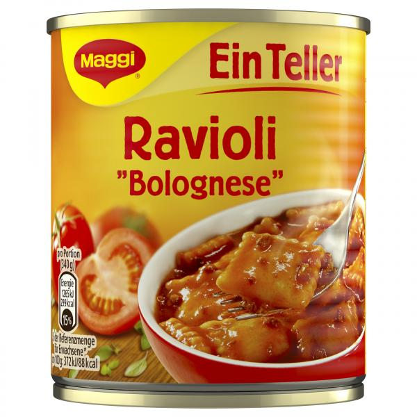 Maggi Ein Teller Ravioli Bolognese