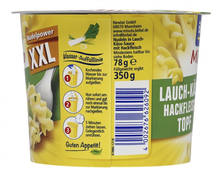 Birkel Minuto XXL Lauch-Käse-Hackfleisch Topf