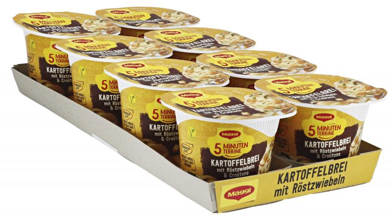 Maggi 5 Minuten Terrine Kartoffelbrei mit Röstzwiebeln & Croûtons