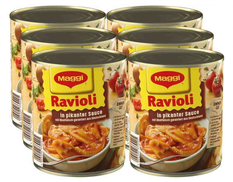 Maggi Ravioli in pikanter Sauce mit Rindfleisch
