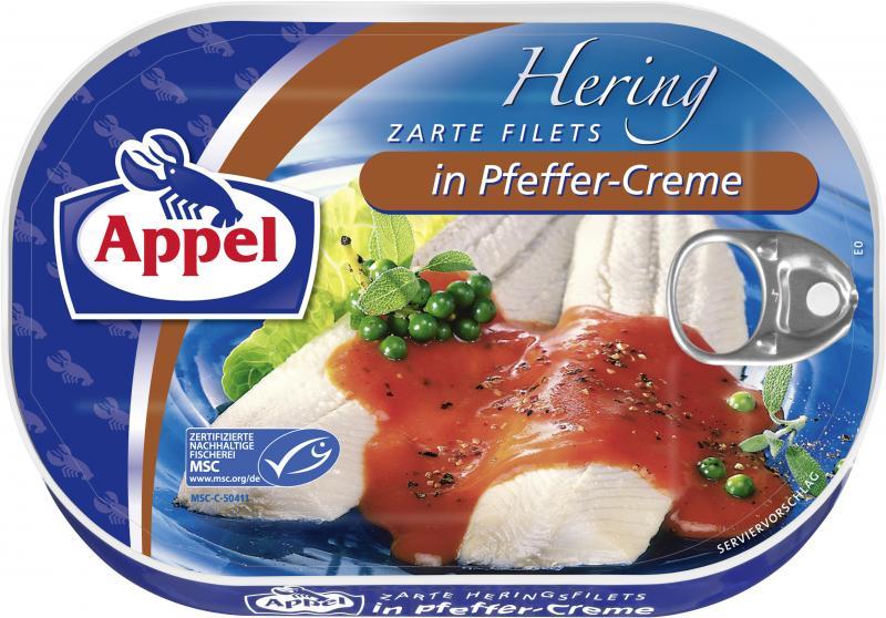 Appel Heringsfilets in Pfeffer-Creme