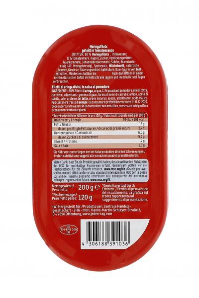 Jeden Tag Heringsfilets geteilt in Tomaten-Sauce