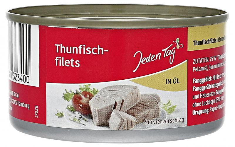 Jeden Tag Thunfischfilets in Öl