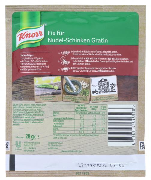 Knorr Fix Nudel-Schinken Gratin