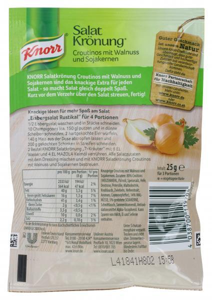 Knorr Salatkrönung Croutinos mit Walnuss und Sojakernen