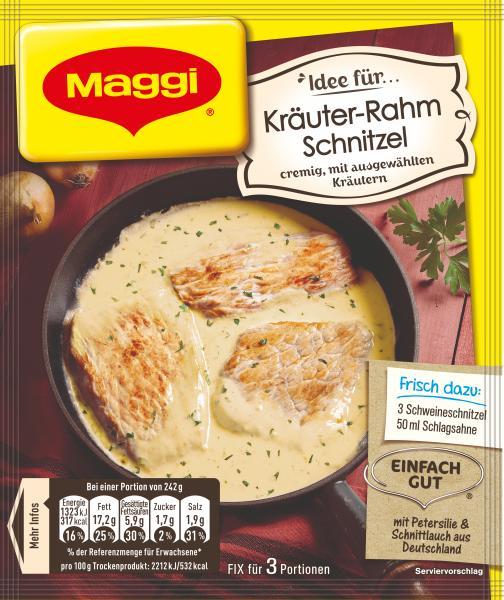 Maggi Idee für Kräuter-Rahm Schnitzel