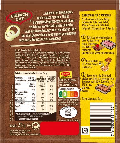 Maggi Fix für Paprika-Rahm Schnitzel