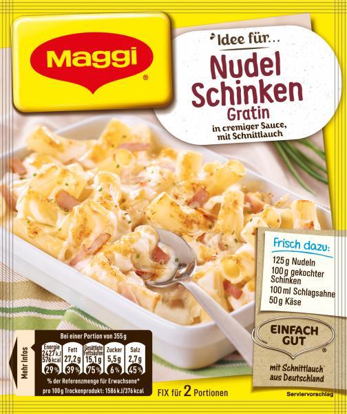 Maggi Idee für Nudel-Schinken Gratin