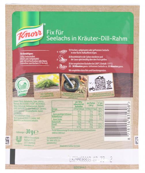 Knorr Fix Seelachs in Kräuter-Dill-Rahm
