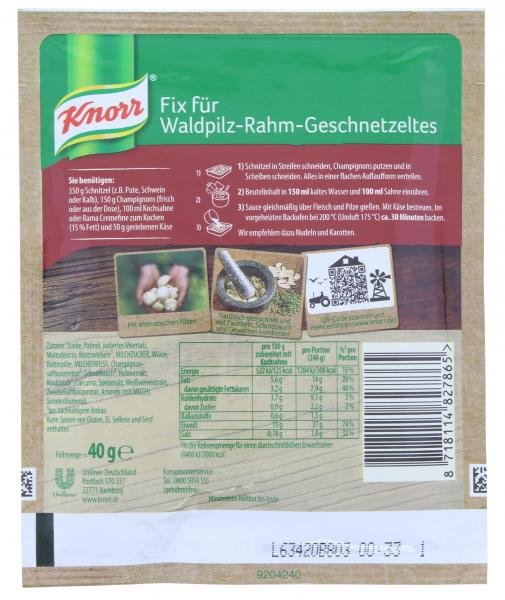 Knorr Fix Waldpilz-Rahm Geschnetzeltes