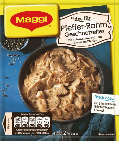 Maggi Fix für Pfeffer-Rahm Geschnetzeltes