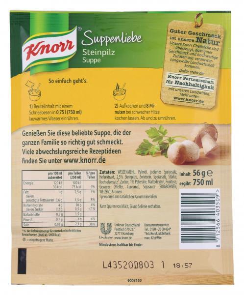 Knorr Suppenliebe Steinpilz Suppe