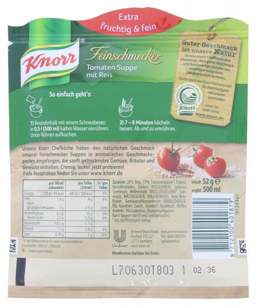 Knorr Feinschmecker Tomaten Suppe mit Reis