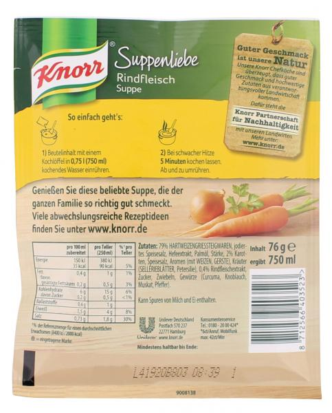 Knorr Suppenliebe Rindfleisch Suppe