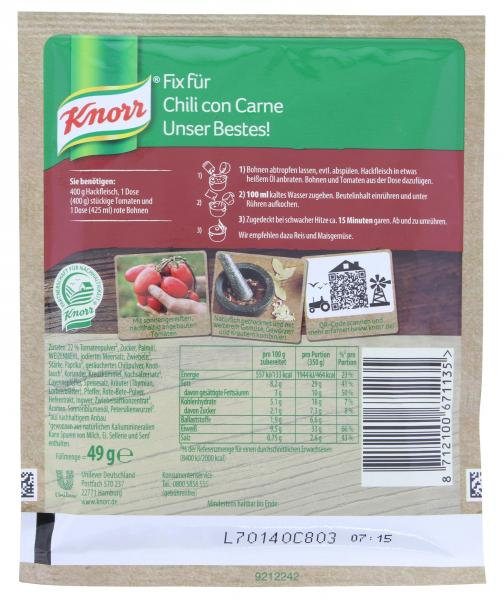 Knorr Fix Chili con Carne Unser Bestes!