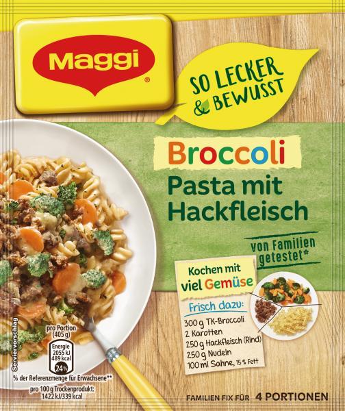 Maggi fix & frisch Broccoli Pasta mit Hackfleisch, Beutel, ergibt 4 Port.