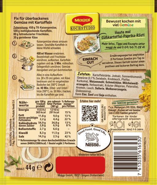 Maggi So lecker & bewusst Bunter Gemüse Auflauf mit Kartoffeln