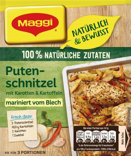 Maggi Natürlich & Bewusst Putenschnitzel mit Karotten & Kartoffeln mariniert vom Blech
