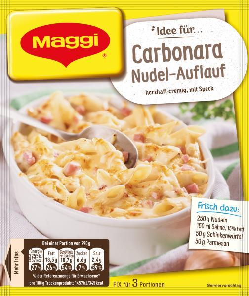 Maggi Idee für Carbonara-Nudel-Auflauf