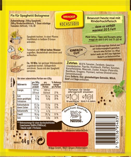 Maggi Natürlich & Bewusst Bolognese mit Rindfleisch und Tomaten