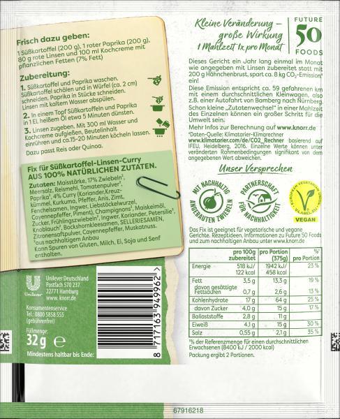 Knorr Fix für Süßkartoffel-Linsen-Curry