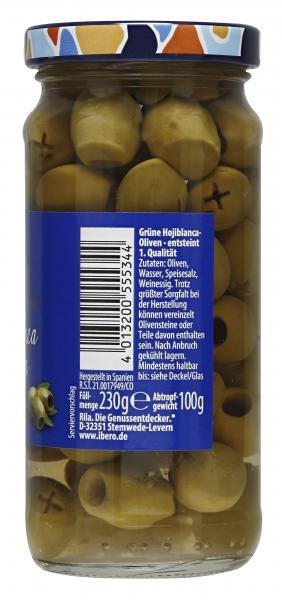 Ibero Spanische grüne Oliven entsteint