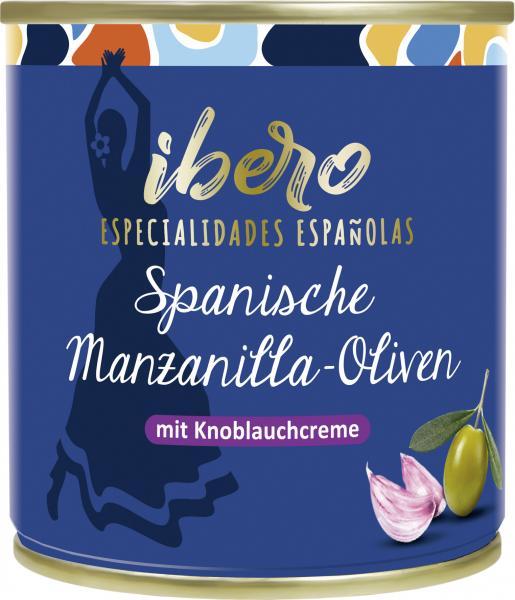 Ibero Spanische grüne Manzanilla Oliven mit Knoblauchcreme