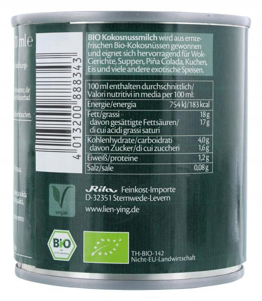 Lien Ying Organic Bio Kokosmilch