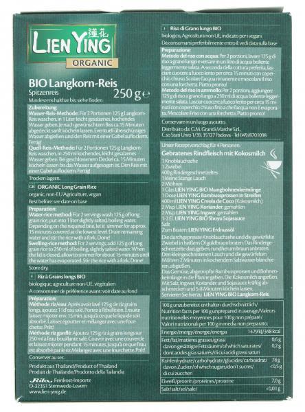 Lien Ying Organic Bio Langkorn-Reis