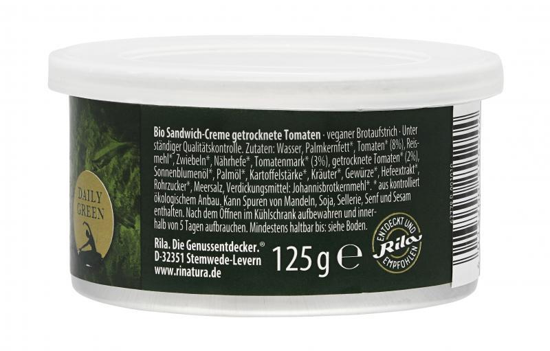 Rinatura Bio Daily Green Sandwich-Creme Getrocknete Tomaten