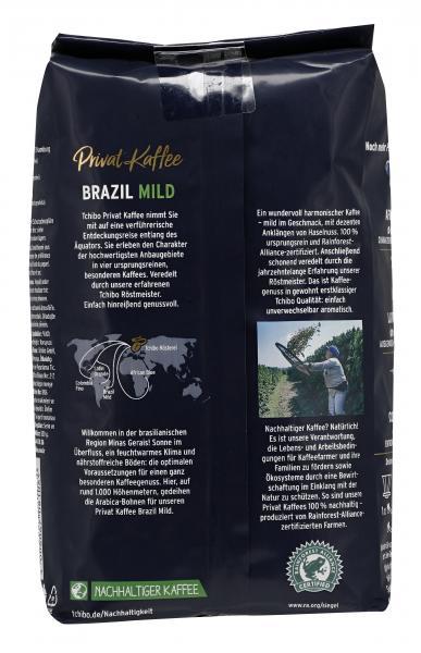 Tchibo Privat Kaffee Brazil Mild - 500g Ganze Bohne