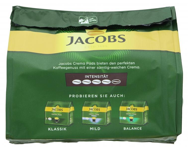 Jacobs Kaffeepads Crema Kräftig, 16 Senseo kompatible Pads